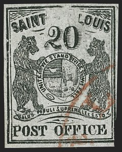 Sale Number 1180, Lot Number 15, 1845 Postmasters' Provisionals (Scott 5X1-11X8)St. Louis Mo., 20c Black on Gray Lilac (11X6), St. Louis Mo., 20c Black on Gray Lilac (11X6)