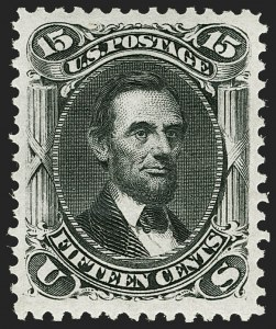 Sale Number 1180, Lot Number 155, 1875 Re-Issue of 1861-66 Issue (Scott 102-111)15c Black, Re-Issue (108), 15c Black, Re-Issue (108)