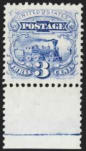 Sale Number 1180, Lot Number 166, 1869 Pictorial Issue, Without Grill and With Grill (Scott 112-122)3c Ultramarine (114). Mint N.H, 3c Ultramarine (114). Mint N.H