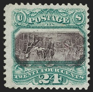 Sale Number 1180, Lot Number 179, 1869 Pictorial Issue, Inverts (Scott 120b, 121b)24c Green & Violet, Center Inverted (120b), 24c Green & Violet, Center Inverted (120b)