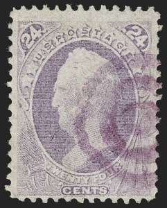 Sale Number 1180, Lot Number 198, 1870-71 National Bank Note Co. Grilled Issue (Scott 134-144)24c Purple, H. Grill (142), 24c Purple, H. Grill (142)