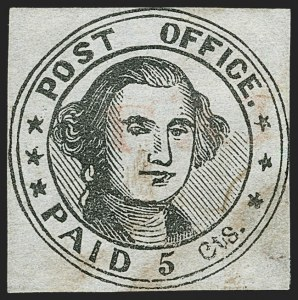 Sale Number 1180, Lot Number 2, 1845 Postmasters' Provisionals (Scott 5X1-11X8)Millbury, Massachusetts, 5c Black on Bluish (7X1), Millbury, Massachusetts, 5c Black on Bluish (7X1)