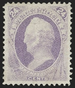 Sale Number 1180, Lot Number 205, 1870-71 National Bank Note Co. Ungrilled Issue (Scott 145-155)24c Purple (153), 24c Purple (153)