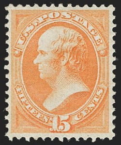 Sale Number 1180, Lot Number 217, 1873 Continental Bank Note Co. Issue (Scott 156-166)15c Yellow Orange (163), 15c Yellow Orange (163)
