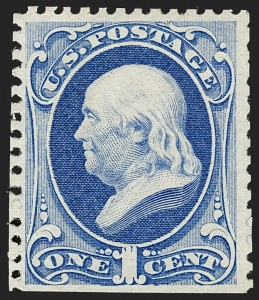 Sale Number 1180, Lot Number 222, 1875 Continental Bank Note Co. Hard Paper Special Printing (Scott 167-177, 180-181)1c Ultramarine, Special Printing (167), 1c Ultramarine, Special Printing (167)