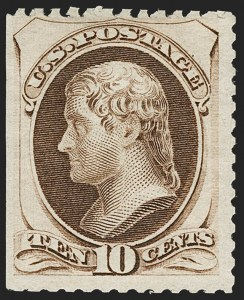 Sale Number 1180, Lot Number 227, 1875 Continental Bank Note Co. Hard Paper Special Printing (Scott 167-177, 180-181)10c Pale Brown, Special Printing (172), 10c Pale Brown, Special Printing (172)