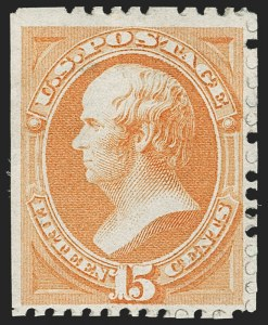 Sale Number 1180, Lot Number 229, 1875 Continental Bank Note Co. Hard Paper Special Printing (Scott 167-177, 180-181)15c Bright Orange, Special Printing (174), 15c Bright Orange, Special Printing (174)