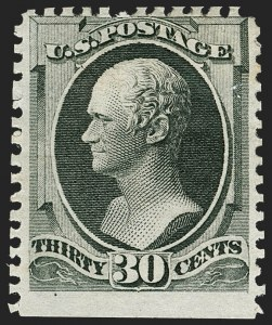 Sale Number 1180, Lot Number 231, 1875 Continental Bank Note Co. Hard Paper Special Printing (Scott 167-177, 180-181)30c Greenish Black, Special Printing (176), 30c Greenish Black, Special Printing (176)