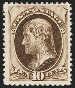 Sale Number 1180, Lot Number 246, 1880-83 American Bank Note Co. Soft Paper Special Printing (Scott 192-205C, 211D)10c Deep Brown, Special Printing (197), 10c Deep Brown, Special Printing (197)