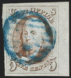Sale Number 1180, Lot Number 25, 1847 Issue (Scott 1-2)5c Red Brown, Double Transfer Ty. A (1-A), 5c Red Brown, Double Transfer Ty. A (1-A)