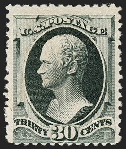 Sale Number 1180, Lot Number 250, 1880-83 American Bank Note Co. Soft Paper Special Printing (Scott 192-205C, 211D)30c Greenish Black, Special Printing (201), 30c Greenish Black, Special Printing (201)