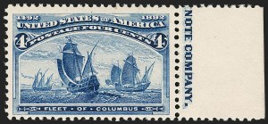 Sale Number 1180, Lot Number 264, 1893 Columbian Issue (Scott 230-245)4c Columbian, Error of Color (233a). Mint N.H, 4c Columbian, Error of Color (233a). Mint N.H