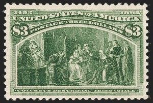 Sale Number 1180, Lot Number 276, 1893 Columbian Issue (Scott 230-245)$3.00 Olive Green, Columbian (243a), $3.00 Olive Green, Columbian (243a)