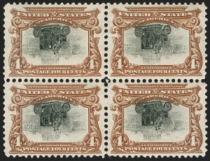 Sale Number 1180, Lot Number 299, 1901 Pan-American Issue, Inverts (Scott 294a, 295a, 296a)4c Pan-American, Center Inverted (296a), 4c Pan-American, Center Inverted (296a)