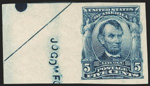 Sale Number 1180, Lot Number 307, 1902-08 Issues (Scott 300-322)5c Blue, Imperforate (315), 5c Blue, Imperforate (315)
