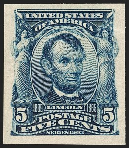Sale Number 1180, Lot Number 308, 1902-08 Issues (Scott 300-322)5c Blue, Imperforate (315), 5c Blue, Imperforate (315)