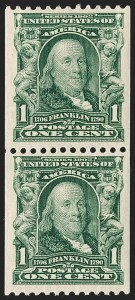 Sale Number 1180, Lot Number 310, 1902-08 Issues (Scott 300-322)1c Blue Green, Coil (316), 1c Blue Green, Coil (316)