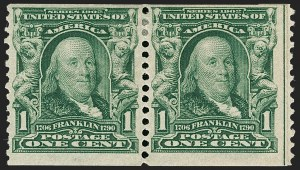 Sale Number 1180, Lot Number 312, 1902-08 Issues (Scott 300-322)1c Blue Green, Coil (318), 1c Blue Green, Coil (318)