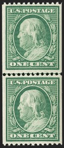 Sale Number 1180, Lot Number 317, 1908-10 Washington-Franklin Issues (Scott 331-356)1c Green, Coil (348), 1c Green, Coil (348)