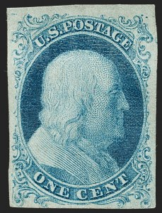 Sale Number 1180, Lot Number 32, 1851-56 Issue (Scott 5-17)1c Blue, Ty. I (5), 1c Blue, Ty. I (5)