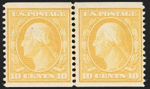 Sale Number 1180, Lot Number 321, 1908-10 Washington-Franklin Issues (Scott 331-356)10c Yellow, Coil (356), 10c Yellow, Coil (356)