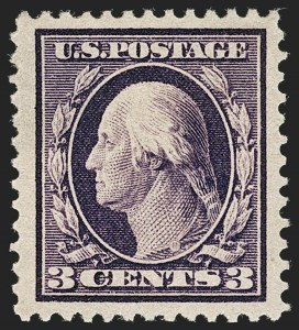 Sale Number 1180, Lot Number 323, 1909 Bluish Paper Issue (Scott 357-366)3c Deep Violet, Bluish (359), 3c Deep Violet, Bluish (359)