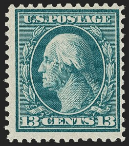 Sale Number 1180, Lot Number 329, 1909 Bluish Paper Issue (Scott 357-366)13c Bluish Green, Bluish (365), 13c Bluish Green, Bluish (365)