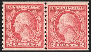 Sale Number 1180, Lot Number 354, 1912-15 Washington-Franklin Issues (Scott 405-461)2c Red, Ty. II, Coil (454), 2c Red, Ty. II, Coil (454)