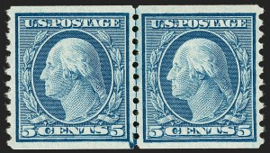 Sale Number 1180, Lot Number 356, 1912-15 Washington-Franklin Issues (Scott 405-461)5c Blue, Coil (458), 5c Blue, Coil (458)