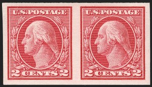 Sale Number 1180, Lot Number 357, 1912-15 Washington-Franklin Issues (Scott 405-461)2c Carmine, Ty. I, Horizontal Imperforate Coil (459), 2c Carmine, Ty. I, Horizontal Imperforate Coil (459)