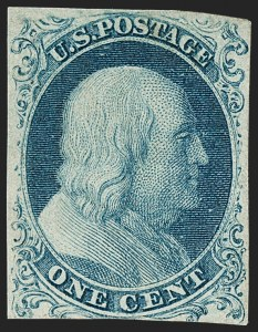 Sale Number 1180, Lot Number 36, 1851-56 Issue (Scott 5-17)1c Blue, Ty. Ia (6), 1c Blue, Ty. Ia (6)