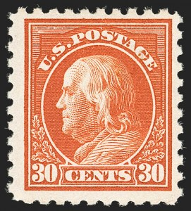 Sale Number 1180, Lot Number 367, 1916-17 Issues (Scott 462-480)30c Orange Red, Perf 10 (476A), 30c Orange Red, Perf 10 (476A)
