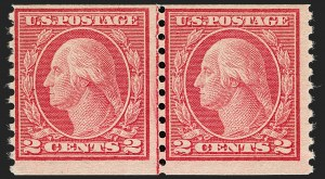 Sale Number 1180, Lot Number 374, 1917-19 Issues (Scott 481-524)2c Carmine, Ty. II, Coil (491), 2c Carmine, Ty. II, Coil (491)