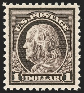 Sale Number 1180, Lot Number 378, 1917-19 Issues (Scott 481-524)$1.00 Deep Brown (518b), $1.00 Deep Brown (518b)