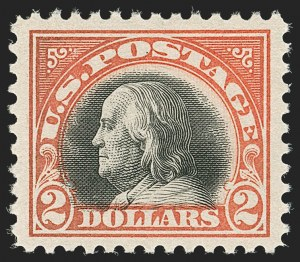 Sale Number 1180, Lot Number 380, 1917-19 Issues (Scott 481-524)$2.00 Orange Red & Black (523), $2.00 Orange Red & Black (523)