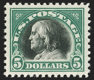 Sale Number 1180, Lot Number 381, 1917-19 Issues (Scott 481-524)$5.00 Deep Green & Black (524), $5.00 Deep Green & Black (524)