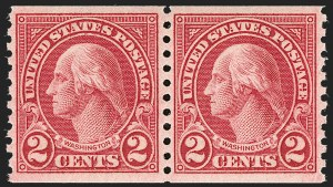 Sale Number 1180, Lot Number 392, Rotary Waste Rarities and Later Issues (Scott 594, 596, 613)2c Carmine, Ty. II, Coil (599A), 2c Carmine, Ty. II, Coil (599A)