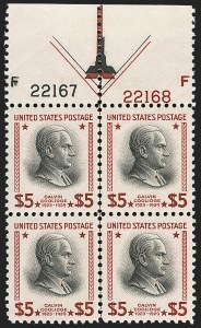 Sale Number 1180, Lot Number 396, Rotary Waste Rarities and Later Issues (Scott 594, 596, 613)$5.00 Red, Brown & Black (834a), $5.00 Red, Brown & Black (834a)
