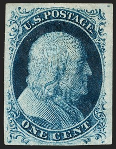 Sale Number 1180, Lot Number 40, 1851-56 Issue (Scott 5-17)1c Blue, Ty. II, Plate 3 (7), 1c Blue, Ty. II, Plate 3 (7)