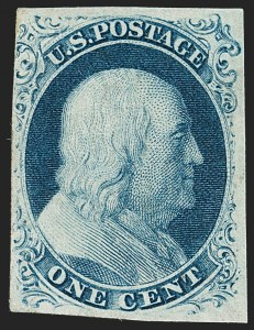 Sale Number 1180, Lot Number 43, 1851-56 Issue (Scott 5-17)1c Blue, Ty. III (8), 1c Blue, Ty. III (8)