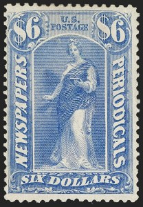 Sale Number 1180, Lot Number 435, Newspapers and Periodicals$6.00 Ultramarine, 1875 Issue (PR26), $6.00 Ultramarine, 1875 Issue (PR26)
