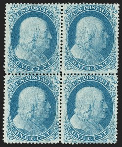 Sale Number 1180, Lot Number 63, 1857-60 Issue (Scott 18-39)1c Blue, Ty. I-II (18-20/20-18), 1c Blue, Ty. I-II (18-20/20-18)