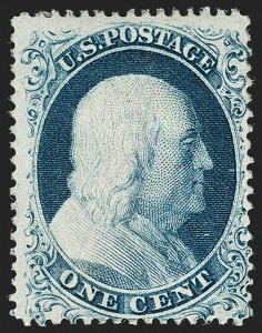 Sale Number 1180, Lot Number 65, 1857-60 Issue (Scott 18-39)1c Blue, Ty. Ia (19), 1c Blue, Ty. Ia (19)