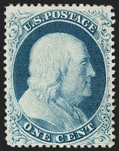Sale Number 1180, Lot Number 68, 1857-60 Issue (Scott 18-39)1c Blue, Ty. IIIa (22), 1c Blue, Ty. IIIa (22)