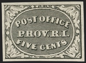 Sale Number 1180, Lot Number 8, 1845 Postmasters' Provisionals (Scott 5X1-11X8)Providence, Rhode Island, 5c Gray Black (10X1), Providence, Rhode Island, 5c Gray Black (10X1)