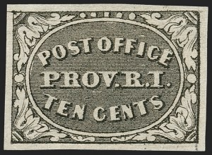 Sale Number 1180, Lot Number 9, 1845 Postmasters' Provisionals (Scott 5X1-11X8)Providence, Rhode Island, 10c Gray Black (10X2), Providence, Rhode Island, 10c Gray Black (10X2)