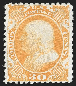 Sale Number 1180, Lot Number 97, 1875 Reprint of 1857-60 Issue (Scott 40-47)30c Yellow Orange, Reprint (46), 30c Yellow Orange, Reprint (46)