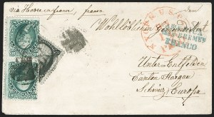 Sale Number 1181, Lot Number 1550, Foreign Mails: Switzerland2c Black, Diagonal Half Used as 1c (73a), 2c Black, Diagonal Half Used as 1c (73a)