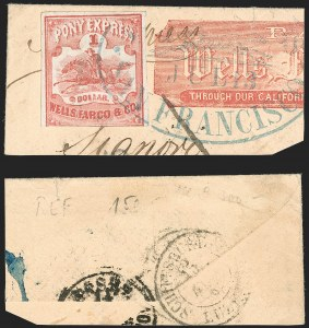 Sale Number 1182, Lot Number 155, Carriers & LocalsWells, Fargo & Co. Pony Express, $1.00 Red (143L3), Wells, Fargo & Co. Pony Express, $1.00 Red (143L3)