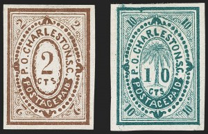 Sale Number 1182, Lot Number 227, Confederate and Civil War: Postmasters' Provisionals (Albany Ga. thru Houston Tex.)Charleston S.C., 2c Brown, 10c Blue Green, Essays on Wove (Dietz E-11, E-12), Charleston S.C., 2c Brown, 10c Blue Green, Essays on Wove (Dietz E-11, E-12)